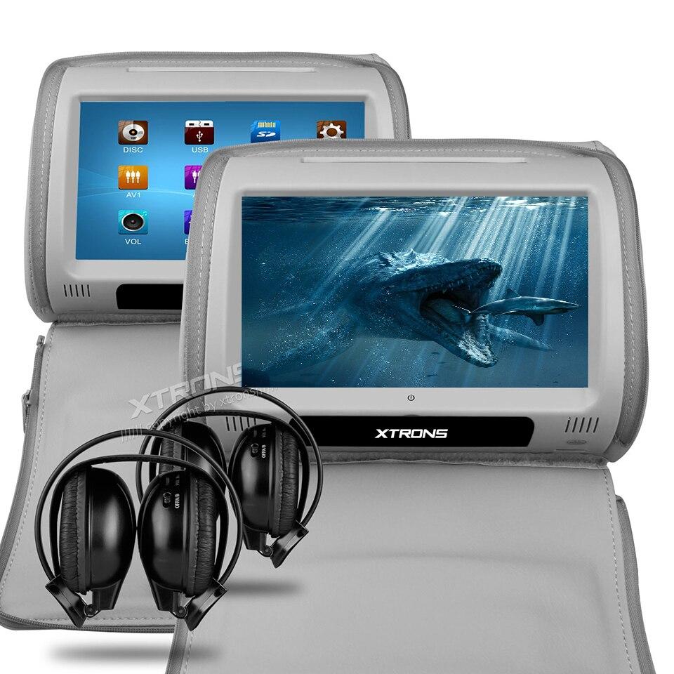 2x9 подголовник автомобиля Мониторы DVD крышка с застежкой молнией сзади сиденье Сенсорный экран Поддержка 32 бита игры Подушки Детские встро