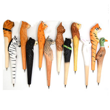 Creative 100% Handmade Wooden Animals Ballpoint Pen Lion Tiger Panther Rabbit Wood Carving Ball Pens for Kids Writing Gifts Toys