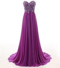 Arabische Abendkleider Kleider 2017 Vestido Festa Longo A-linie Lila Chiffon Strass Prom Lange Kleider