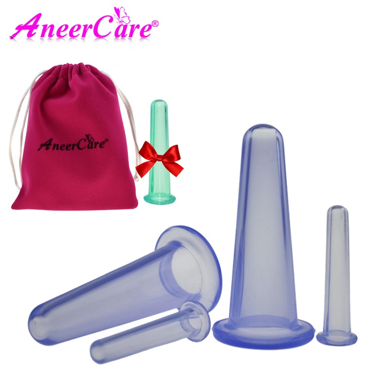 цена на 4 Pcs Massage cans vacuum cupping silicone for face massage cans anti cellulite massager cupping set family body helper