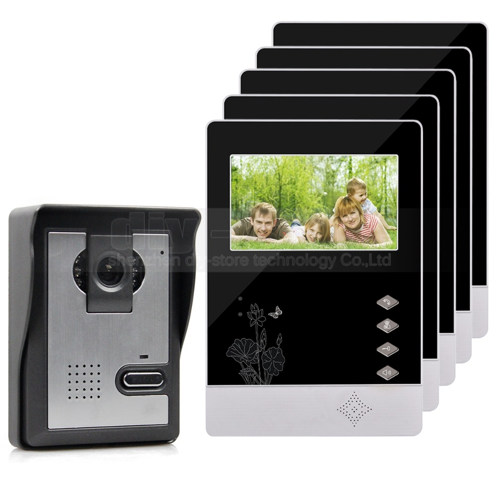 DIYSECUR 4.3 inch Indoor Monitor + 600 TVLine HD Camera IR Night Vision Video Door Phone Video Intercom 1V5