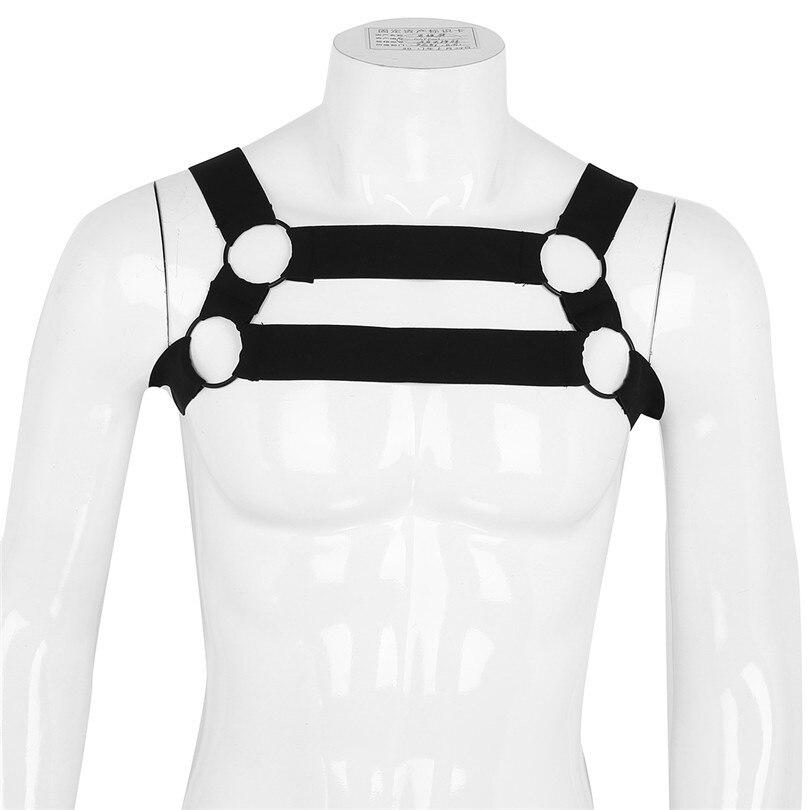 Iefiel男性メンズランジェリーナイロン弾性ショルダーボディ胸筋ハーネスベルトボンデージセクシーな衣装ベルト付きメタルoリング
