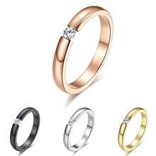 Men Women Titanium Stainless Steel Rhinestone Wedding Band Finger Knuckle Ring