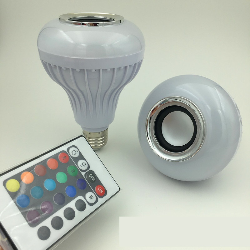 AC100-240V B22/E27 12W LED RGB White Wireless Bluetooth Speaker Light Bulb Music Playing Audio Lamp With 24 Keys Remote Control wireless bluetooth speaker led audio portable mini subwoofer