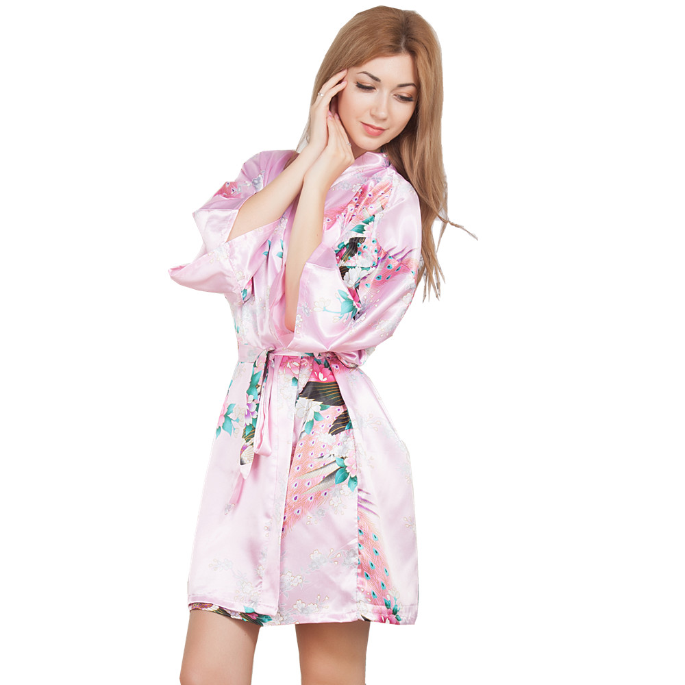 New Wedding Bride Bridesmaid Robe Floral Bathrobe Short Kimono Night Robe Bath Robe Fashion Dressing Gown For Women One Size T05