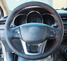 цена Free Shipping High Quality cowhide Top Layer Leather handmade Sewing Steering wheel covers protect For KIA K2 Rio в интернет-магазинах