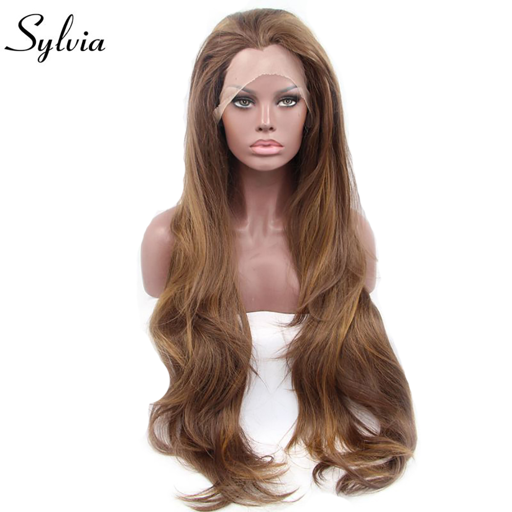 Sylvia mixed brown natural wave synthetic lace front wigs heat resistant fiber hair for woman free