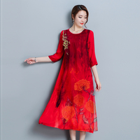 Women dress Print Loose Long In Blockbuster Embroidered Silk Dresses Red 6227