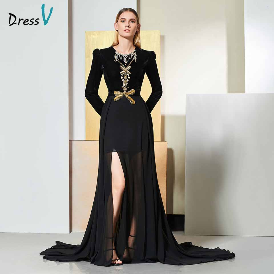 Dressv Black Evening Dress Scoop Neck Long Sleeves Beaded Floor-length Wedding Party Formal Dress Trumpet Evening Dresses