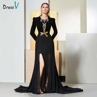 Dressv black evening dress scoop neck long sleeves beaded floor length wedding party formal dress trumpet evening dresses