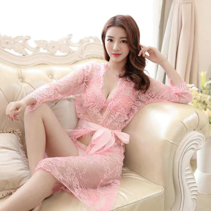 a236c09c4 Nighties For Women Sexy Pink Robe 2019 Lace Robes Long Sleeve Bathrobes  Femme Gown Pajamas Sleepwear
