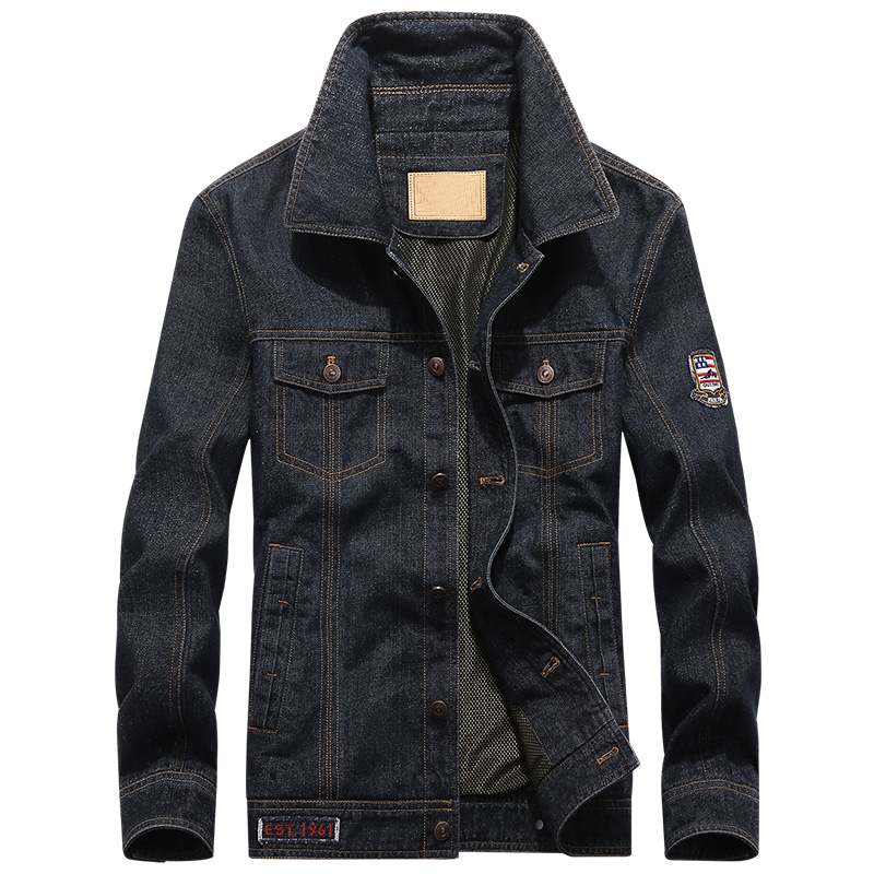 Marca AFS JEEP Più Il formato 4XL 5XL giacca di jeans degli uomini di Autunno della Molla di modo dei jeans del cappotto del Cowboy Militare Bomber jaqueta masculina-in Giacche da Abbigliamento da uomo su  Gruppo 1