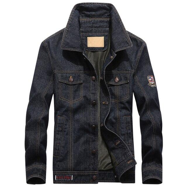 2a759855af83 Marca AFS JEEP Plus Size 4XL 5XL homens jaqueta jeans Primavera Outono moda jeans  casaco Cowboy