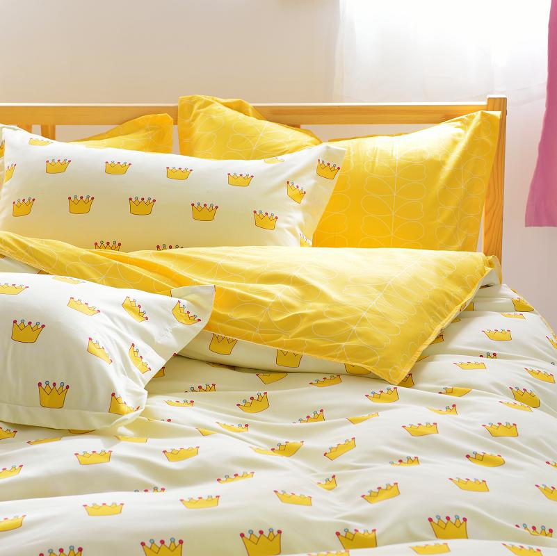648e4c724bb Crown Bedding Set 3pcs ForTwin 4pcs For Full Queen Size Yellow Bed Set  Contain duvet cover sheet pillowcase-in Bedding Sets from Home   Garden on  ...
