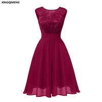 In Stock Wine Red Lace Chiffon Cocktail Dress Elegant Short Cheap Simple Pink Formal Dresses Navy Blue Sexy Backless Prom Gown
