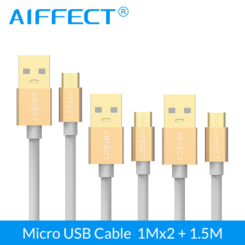 AIFFECT 3 Pack High Speed Micro USB Cable Micro-USB B to Data Charging Sync Cord Line 3.3Ft X2 and 5FT