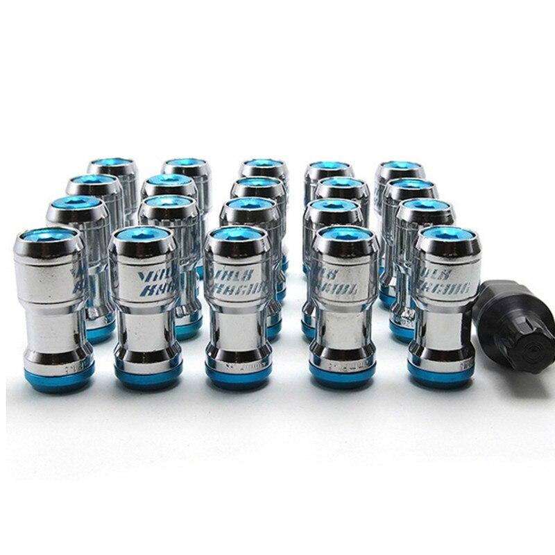 20 pcs Racing Lug Écrous De Roue Vis Inoxydable Étendue Dust Cap Anti-Vol Écrous de Roue Jantes Tuner Avec serrure