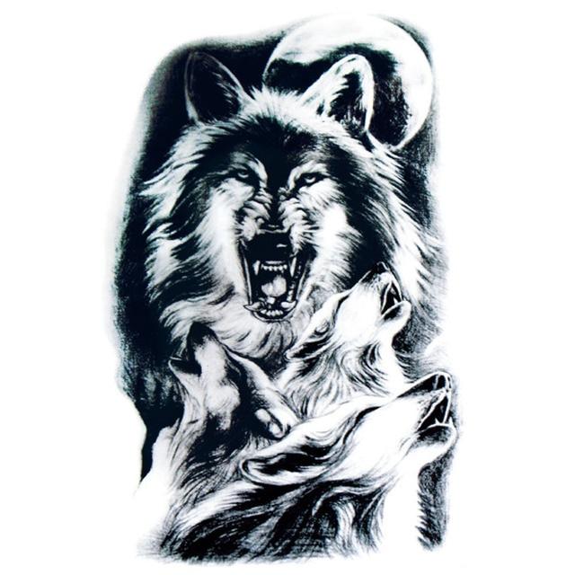 Sementara Tato Stiker Untuk Pria Yeeech Moonlight Serigala Hewan