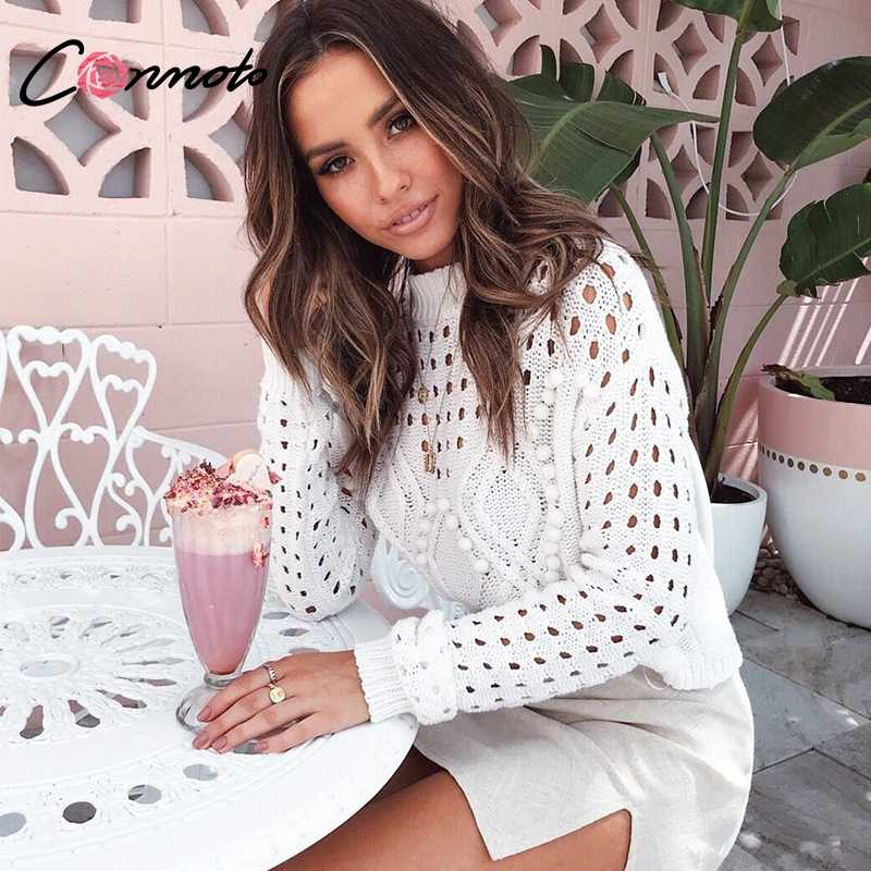 Conmoto Модные белые свитеры с вырезом, повседневные короткие вязаные топы, нарядные уличные джемперы, осень 2019