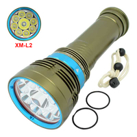 Diving 7x/9x XM L2 LED flashlight 3 Modes Dive Torch Light Underwater Work Hunting Scuba Flashlights Powerful Lamp Diving Light