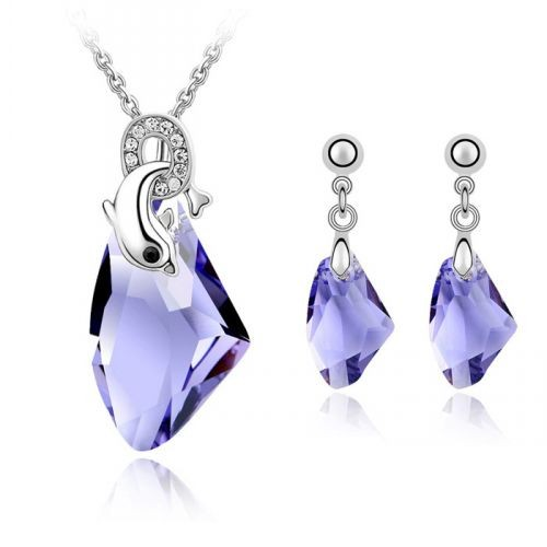 18K Gold Plated Crystal Necklace for women trendy bridal Jewelry Sets zircon Party Jewelry Sets 4098