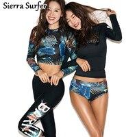 Rash Guard Women Lycra Surf Swimwear Bathing Suit Long Sleeve Swimsuit For 2018 Korea New Three Piece Pants Female Biquini Maio