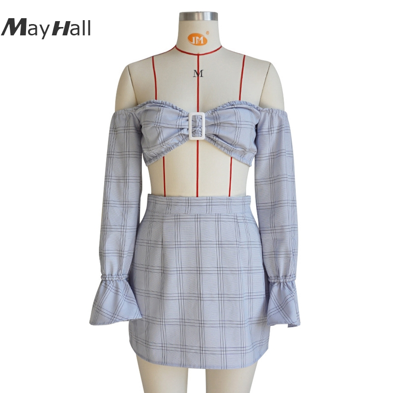 MayHall 2018 New Slash neck Plaid Summer Two pieces set Dress for Women Flare Sleeve off the shoulder vestido conjunto feminino in Dresses from Women 39 s Clothing