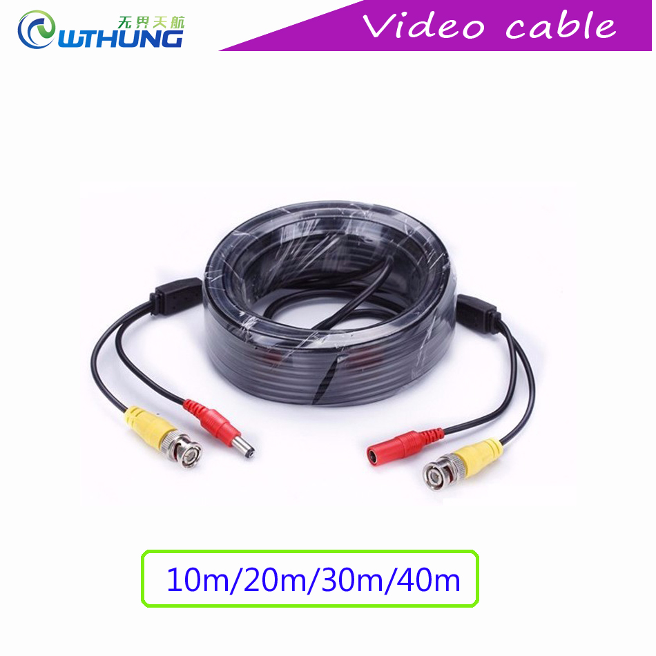 CCTV Power Video BNC + DC plug Coaxia cable 10/20/30/40 meters Length 2-in-1 Security Power and Video Extension Camera  50pcs 2 pole bnc dc male plug for color monitor video cctv power plug terminals