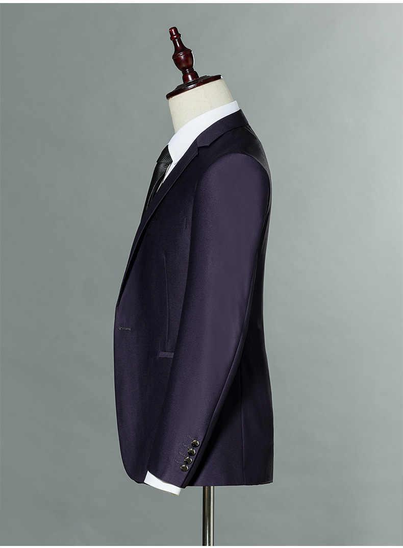 Ch。kwokメンズスーツクラシックternoスリム結婚式新郎タキシード2ピースジャケット+パンツパープルウェディングスーツスリムフィットビジネスジャケット