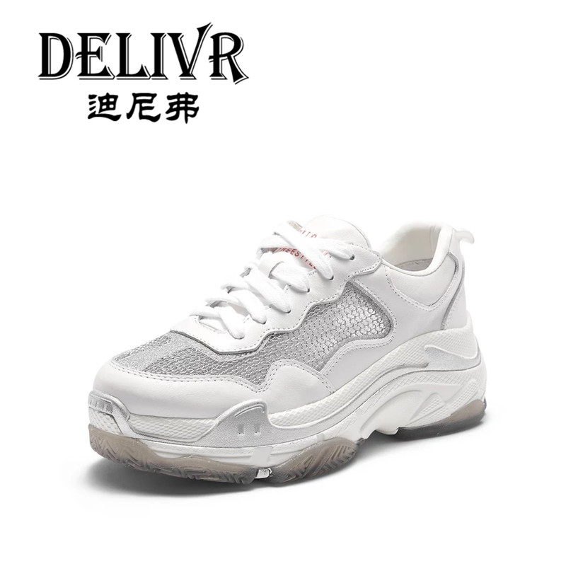 Delivr 2019 Spring Summer Women Casual Sneaker Shoes Platform Trend Street Dad Shoes Girl Hollow Mesh Women'S Vulcanized Shoes