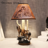 Creative personality wolf table lamp boy bedroom children's room lamp cartoon wolf manual desk lamp free shipping
