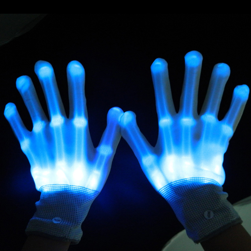 pair of led gloves luminous flower finger light gloves party supplies dancing club props light up
