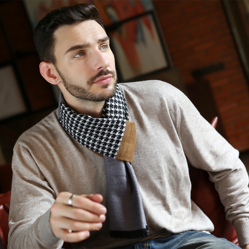 Winter Scarf Tartan Houndstooth Jacquard Warm Designer Fashion Brand Leo Anvi Men