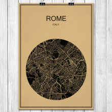 Italy ROME World City Map Vintage Poster Retro Art Painting Kraft Paper Wall Sticker Living Room Cafe Bar Restaurant Decor Home