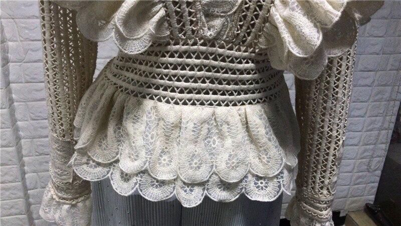Piste Court De V Sleve Qualité Designer Chemises Chemisier Multi Ruches Évider Haute Drapée Long Cou Tops Q031 Sexy Femmes Mode txqCnwg8
