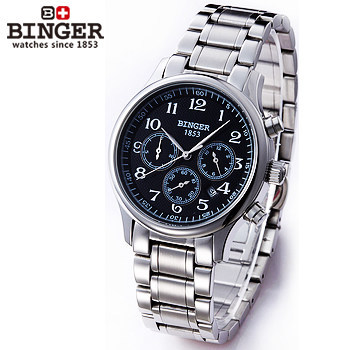 Binger Men Black Bezel Tourbillon Dial High Quality Stainless Steel Automatic Mechanical Watches 3 Eyes 6 Needle Wrist Watch Man top luxury brand men watches automatic double tourbillon mechanical wristwatch stainless steel strap blue dial binger b 8606a