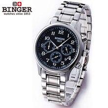 Binger Men Black Bezel Tourbillon Dial High Quality Stainless Steel Automatic Mechanical Watches 3 Eyes 6 Needle Wrist Watch Man