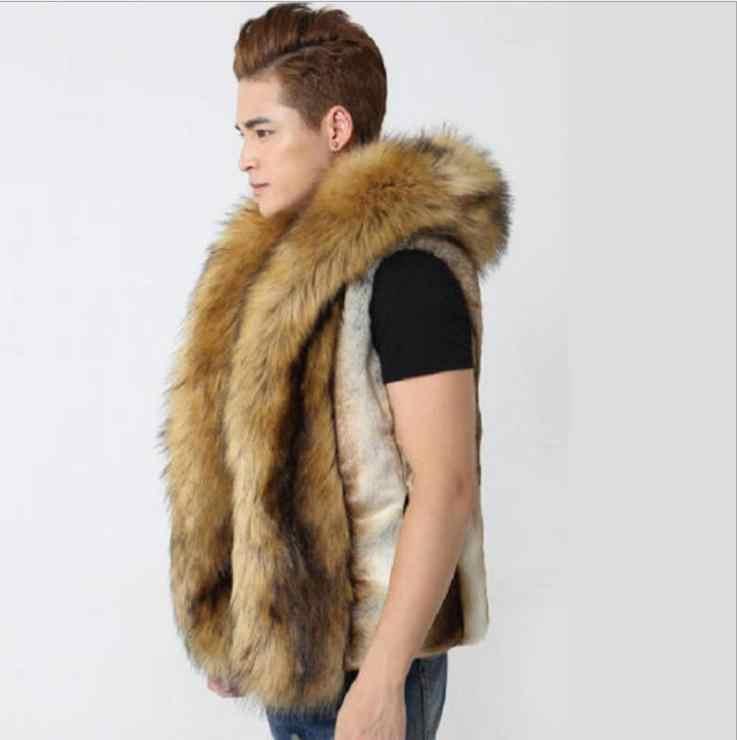 Heren Grote Maat Hooded Imitatie Vossenbont Vesten Bruin Casual Mannelijke 5Xl/6Xl Faux Bont Vesten Casual Kunstmatige Bont vesten S36