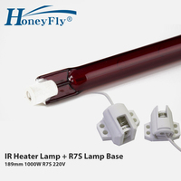 HoneyFly 1pc J189 220V 1000W Infrared Halogen Lamp 189mm R7S Heater Tube Single Spiral for Heating Drying Quartz Tube Glass
