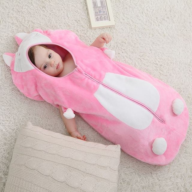 cute  cat  Baby Winter Sleep Sack Coral Fleece Infant Swaddle BlanketsBaby Sleeping Bag newborn