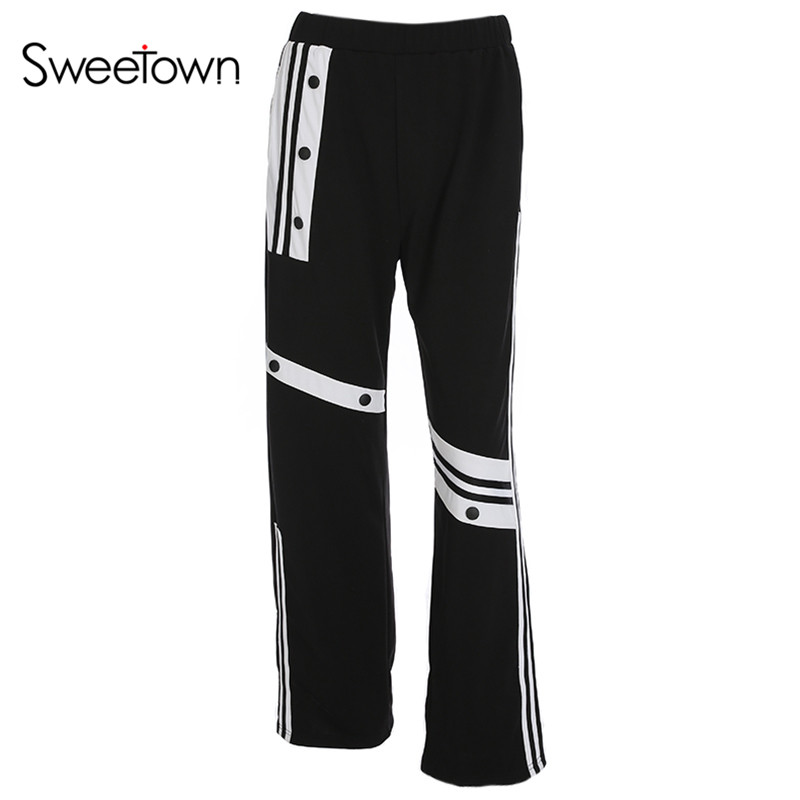 Sweetown Casual Straight Pants Striped Ladies Trousers Women Vogue Pocket Elastic High Waist Pantalon Femme Designer Clothes