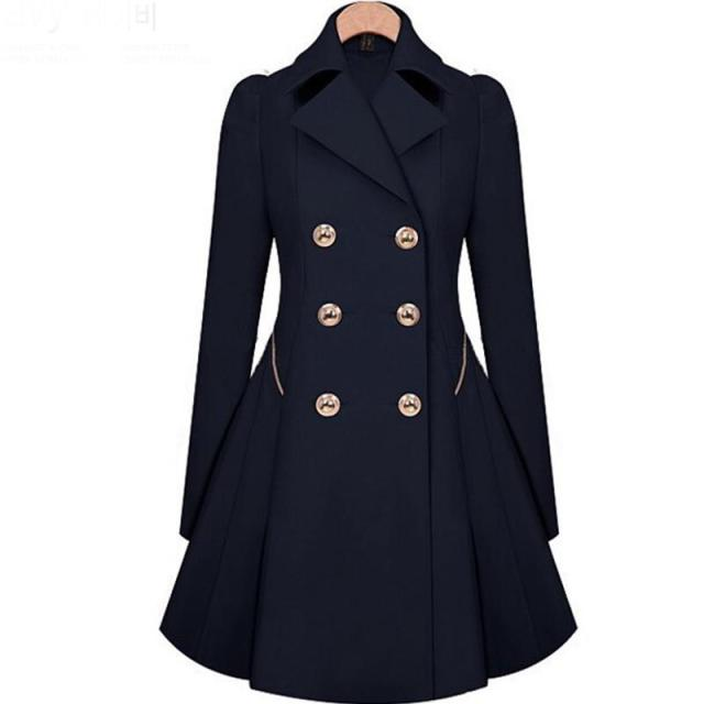 2017 Spring Autumn Women Double-Breasted Long Coat Female Long-Sleeved Solid Abrigos Elegant Ruched Manteau Female Thin Style