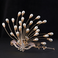 Chic Gilded Crystal Peacock Quinceanera Tiaras And Crowns Bridal Wedding Hair Accessories Pageant Pearl Headband Women