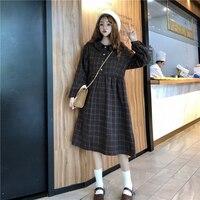 Japanese Vintage Plaid Women Dress Korean Mori Girl Retro Doll Collar Long Sleeve Dress Female Casual Button Shirt Vestidos Midi