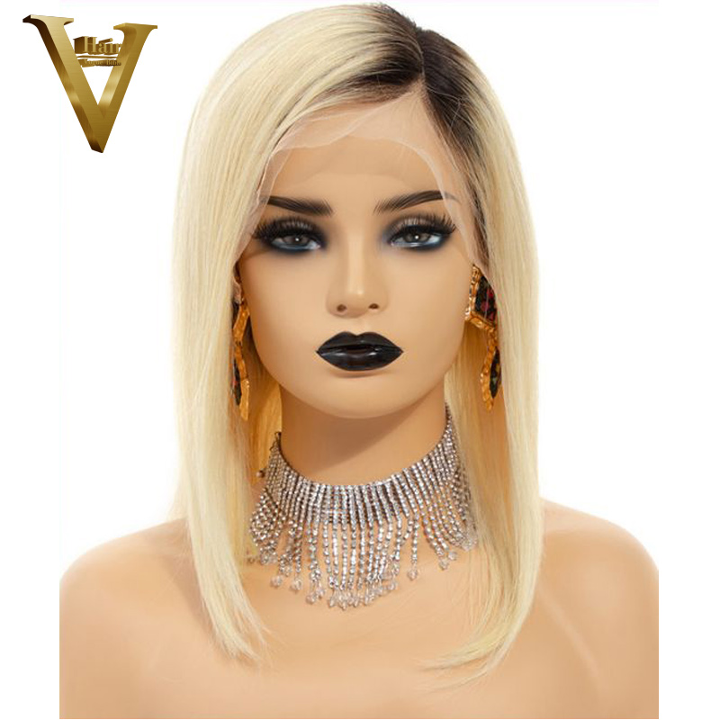 1B 613 Dark Roots Blonde Short Bob Lace Front Human Hair Wigs Pre Plucked 150 Brazilian