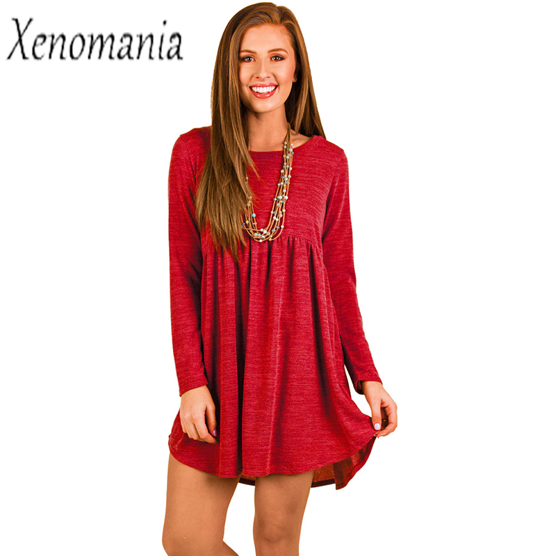 Warm Knitted Dresses Autumn Winter Sweater Dress Women Long Sleeve Red Dress 2017 Vintage Robe Femme Vestidos Cashmere Christmas multic femme skullies autumn beanies winter warm chapeau women hat female knitted cap ladies bonnet