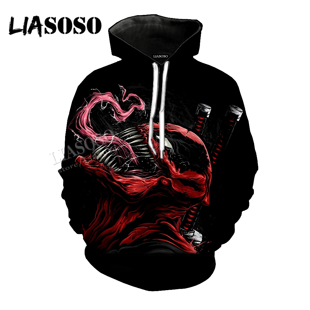 LIASOSO new neutral high quality super hero venom 3D printing Marvel venom Tees / Hat coat / pullover / zipper hoodie CX027