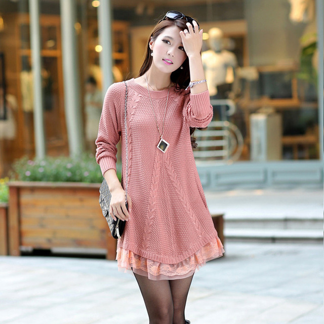 Free Size Maternity Clothes Bud Silk Dresses Pregnant Nursing Dress Pregnancy Knitting Sweater Pink Long Sleeve Clothing GH008
