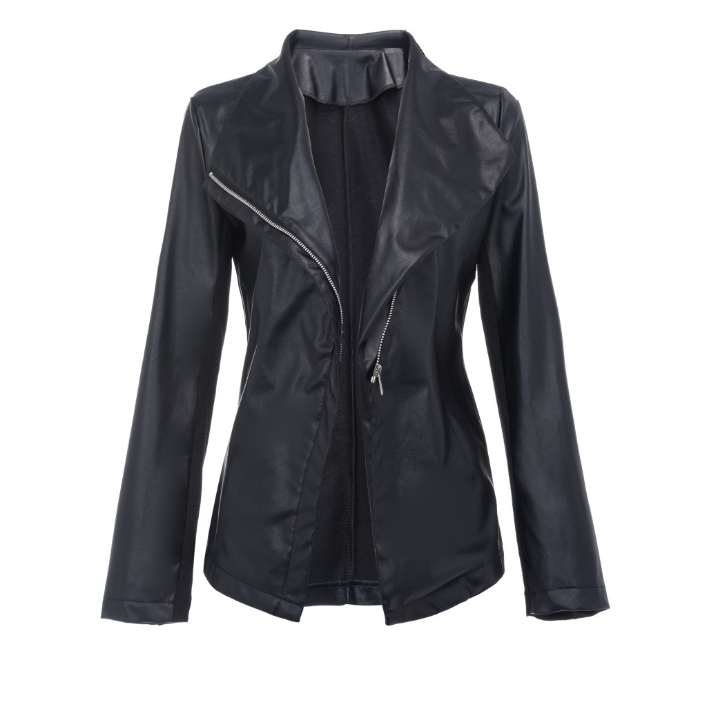 2019 New Arrival Fashion Rock Women Turn-down Coat Solid Tops Leather Loose Long Sleeve Coat 12.13