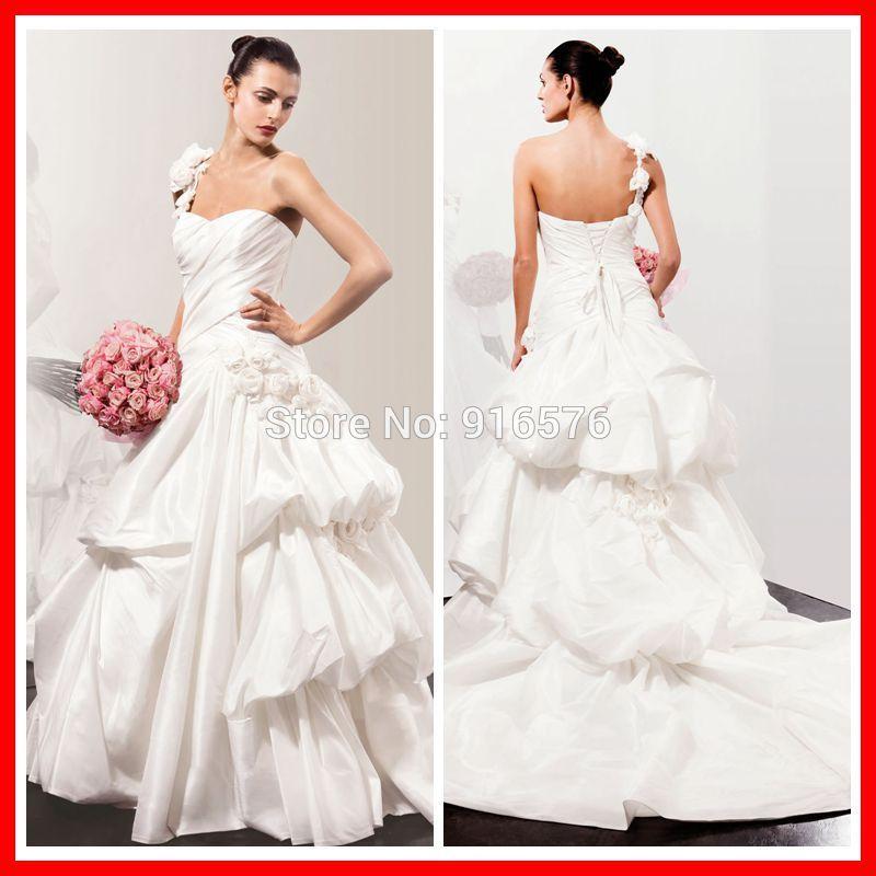 Wedding Ball Gowns 2014: Famous Custom 2014 Taffeta One Shoulder Bridal Gowns